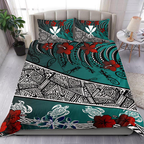 Hawaii Bedding Set - Lizard And Turtle Green - BN20
