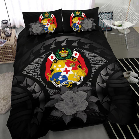 Polynesian Duvet Cover Set - Tonga Bedding Set Gray - A24