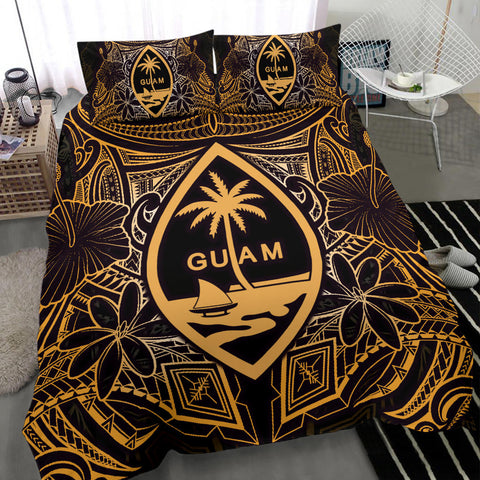 Guam Polynesian Bedding Set - Gold Hibiscus Coat Of Arms - BN12