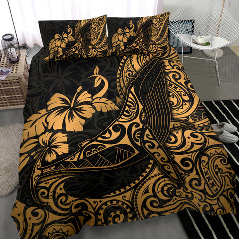 Polynesian Bedding Set - Hawaii Duvet Cover Polynesian Golden Humpback Whale
