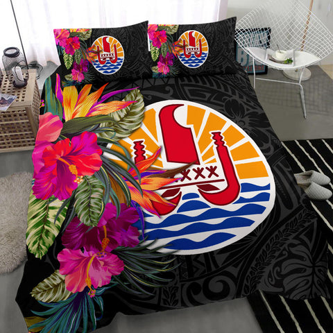 Image of Tahiti Bedding Set - Polynesian Hibiscus Pattern