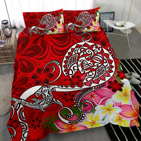 Polynesian Bedding Set - Turtle Plumeria Red Color - BN18