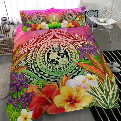 Image of Tonga Polynesian Bedding Set - Manta Ray Tropical Flowers