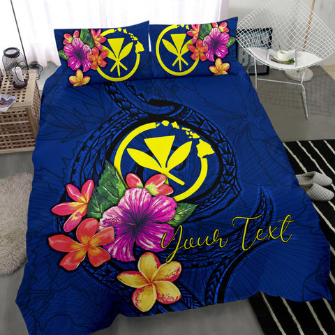Polynesian Custom Personalised Bedding Set - Hawaii Duvet Cover Set Floral With Seal Blue - BN12