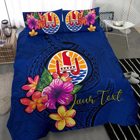 Image of Polynesian Custom Personalised Bedding Set - Tahiti Duvet Cover Set Floral With Seal Blue - BN12