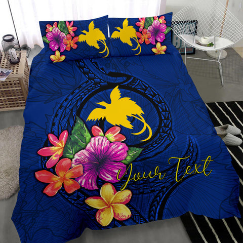 Polynesian Custom Personalised Bedding Set - Papua New Guinea Duvet Cover Set Floral With Seal Blue - BN12