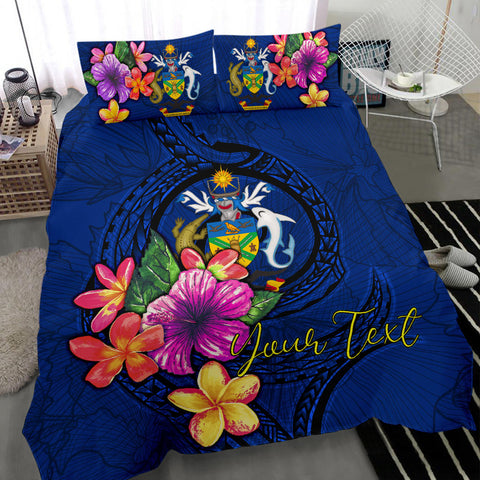 Polynesian Custom Personalised Bedding Set - Solomon Islands Duvet Cover Set Floral With Seal Blue - BN12