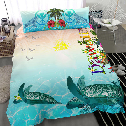 Polynesian Hawaii Bedding Sets - View sea Hawaii with Turtle and Whale - BN17