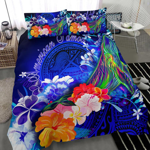 American Samoa Polynesian Bedding Set - Humpback Whale with Tropical Flowers (Blue)