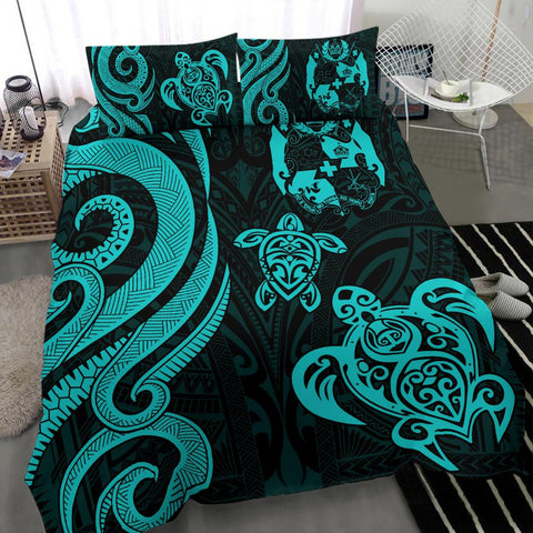 Tonga Polynesian Bedding Set - Turquoise Tentacle Turtle - BN11