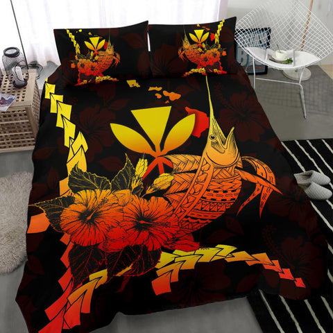 Polynesian Hawaii Bedding Set - Swordfish With Hibiscus - BN12