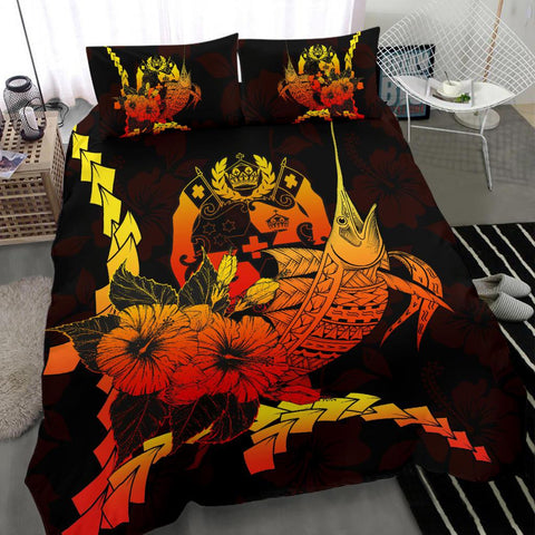 Tonga Polynesian Bedding Set - Swordfish With Hibiscus - BN12