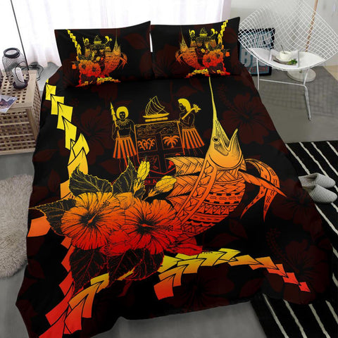 Image of Fiji Polynesian Bedding Set - Swordfish With Hibiscus - BN12