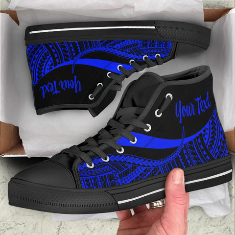 Tahiti Custom Personalised High Top Shoes Blue - Polynesian Tentacle Tribal Pattern