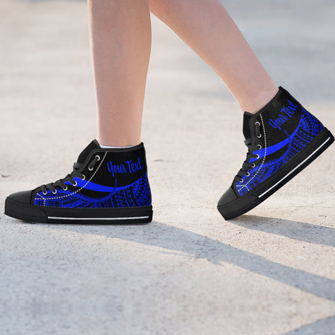Image of Guam Custom Personalised High Top Shoes Blue - Polynesian Tentacle Tribal Pattern - BN11
