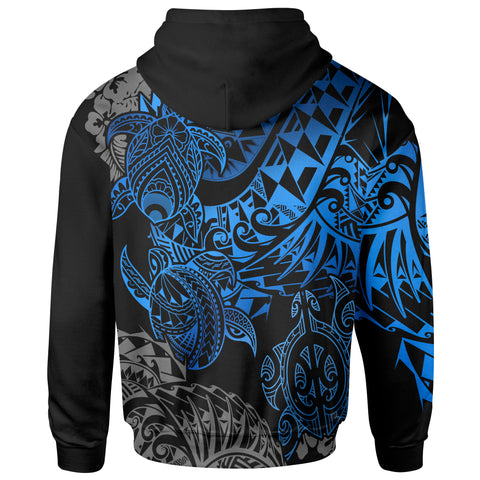 Image of Tahiti Polynesian Zip-Up Hoodie - Blue Turtle Hibiscus Flowing