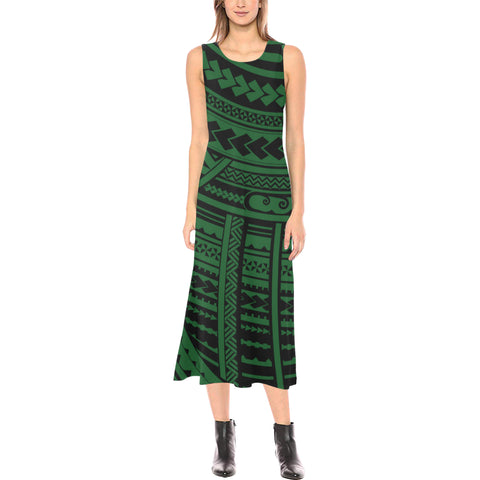 Polynesian Tribal Phaedra Sleeveless Open Fork Long Dress - Green Version