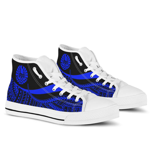 Image of Tahiti Custom Personalised High Top Shoes Blue - Polynesian Tentacle Tribal Pattern - BN11