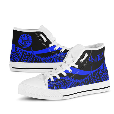 Tahiti Custom Personalised High Top Shoes Blue - Polynesian Tentacle Tribal Pattern - BN11