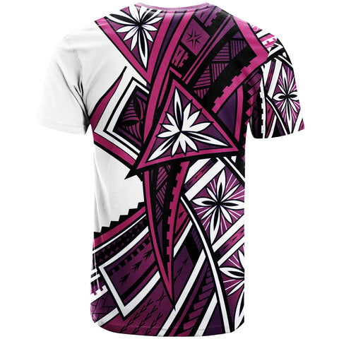 Image of Tahiti T-Shirt - Tribal Flowers Special Pattern Purple Color - BN20