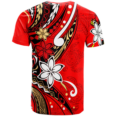 Fiji T-Shirt - Tribal Flower With Special Turtles Red Color - BN20