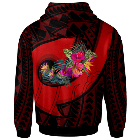 Tahiti Hoodie - Polynesian Hook And Hibiscus (Red)