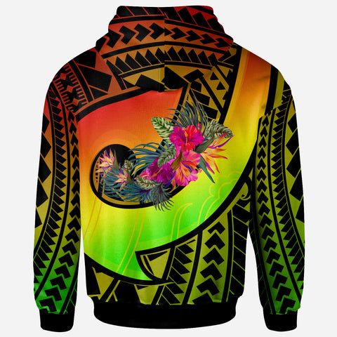 Image of Tahiti Hoodie - Polynesian Hook And Hibiscus (Raggae)