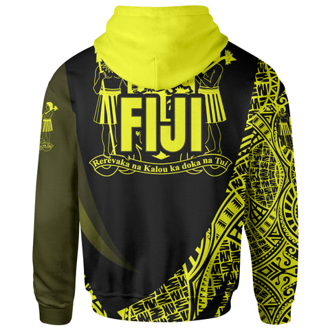 Image of Fiji Zip Hoodie - Yellow Polynesian Patterns Sport Style - BN01