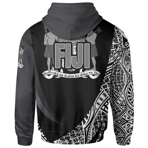 Image of Fiji Zip Hoodie - White Polynesian Patterns Sport Style - BN01