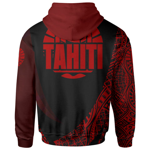 Image of Tahiti Hoodie -Red Polynesian Patterns Sport Style - BN01