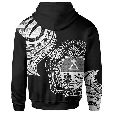 Nauru Zip Hoodie - Nauru Tatau White Patterns - BN01