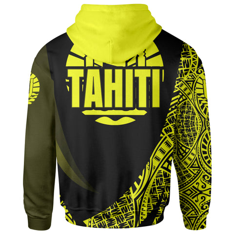 Image of Tahiti Hoodie - Yellow Polynesian Patterns Sport Style - BN01