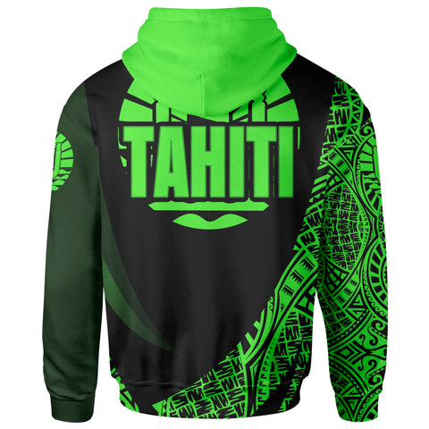 Tahiti Zip Hoodie - Green Polynesian Patterns Sport Style - BN01