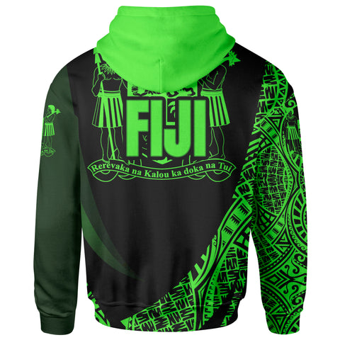 Image of Fiji Zip Hoodie - Green Polynesian Patterns Sport Style - BN01