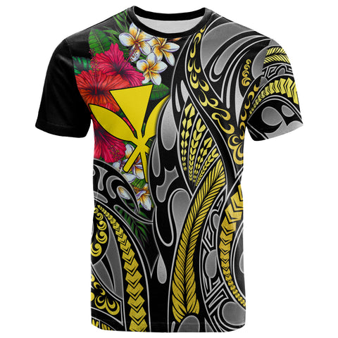 Hawaii T-Shirt Black - Gold Tribal Pattern and Hisbiscus Plumeria