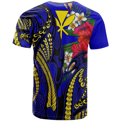Hawaii T-Shirt Blue - Gold Tribal Pattern and Hibiscus Plumeria