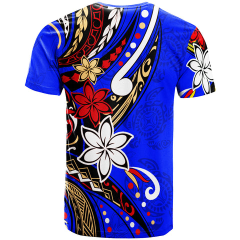 Image of Tahiti T-Shirt - Tribal Flower With Special Turtles Dark Blue Color - BN20