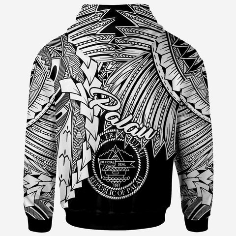Image of Palau Polynesian Zip Up Hoodie - Tribal Wave Tattoo White - BN12