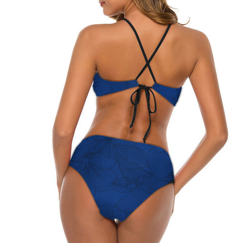 Tonga Polynesian Bikini - Floral With Seal Blue - BN12