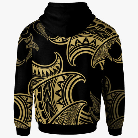 Fiji Zip Hoodie - Hammerhead Shark Tribal Pattern - BN20