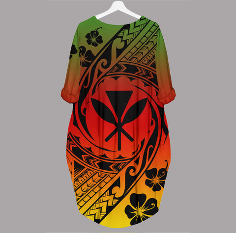 Kanaka Maoli Batwing Pocket Dress - Tribal Tattoo Sleeve - BN29