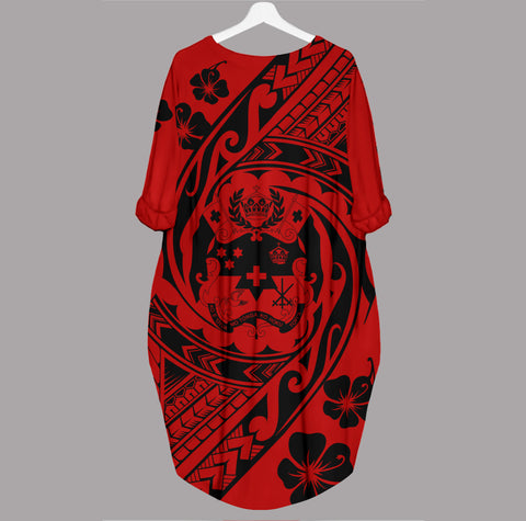 Tonga Batwing Pocket Dress - Tribal Tattoo Sleeve - BN29