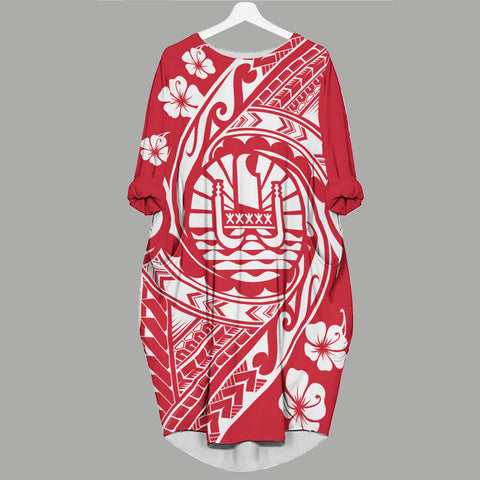 Tahiti Batwing Pocket Dress - Tribal Tattoo Sleeve