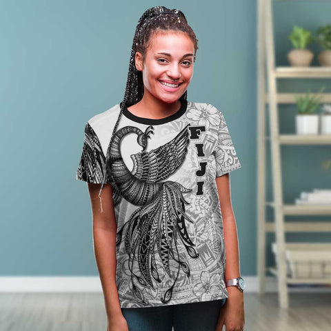 Fiji T-Shirt - Polynesian Phoenix Bird, Fairytales Bird Black - BN09