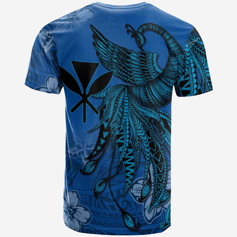 Kanaka Maoli Custom Personalised T-Shirt - Polynesian Phoenix Bird, Fairytales Bird Blue - BN09