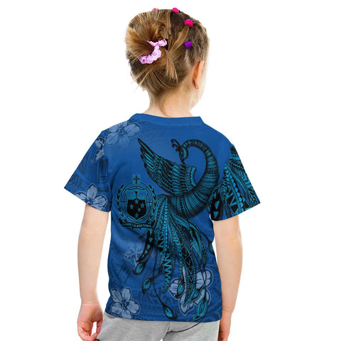 Samoa Custom Personalised T-Shirt - Polynesian Phoenix Bird, Fairytales Bird Blue - BN09
