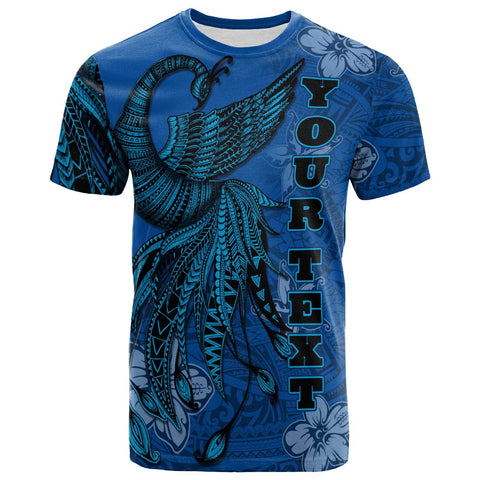 Tahiti Custom Personalised T-Shirt - Polynesian Phoenix Bird, Fairytales Bird Blue