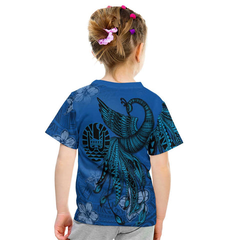 Image of Tahiti Custom Personalised T-Shirt - Polynesian Phoenix Bird, Fairytales Bird Blue - BN09