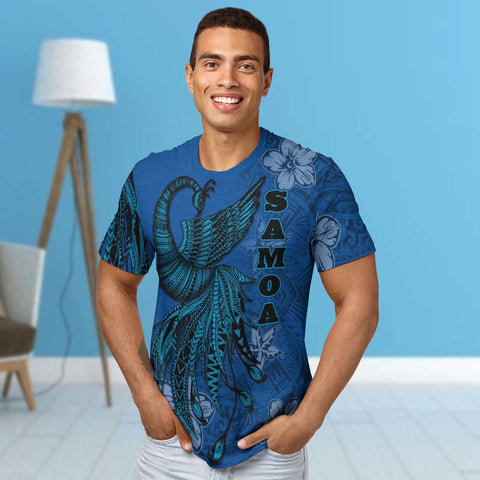 Image of Samoa T-Shirt - Polynesian Phoenix Bird, Fairytales Bird Blue - BN09