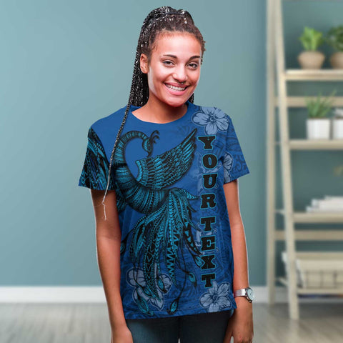 Fiji Custom Personalised T-Shirt - Polynesian Phoenix Bird, Fairytales Bird Blue - BN09